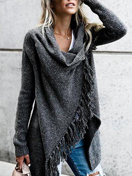 Dark Gray Tassel Trim Long Sleeve Cardigan