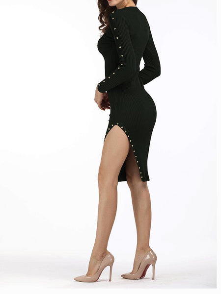 Black Stud Detail Long Sleeve Side Split Knitted Bodycon Dress