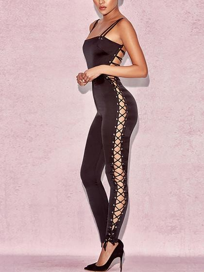 Black Side Lace Up Tie Strap Back Cami Bodycon Jumpsuit