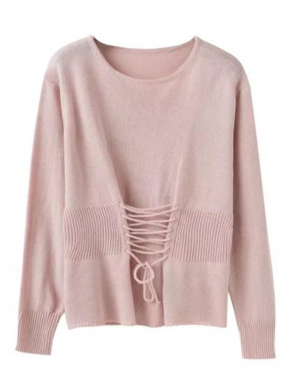 Pink Lace Up Detail Long Sleeve Knit Jumper