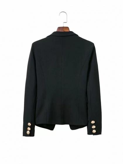 Black Lapel Double Breasted Front Long Sleeve Chic Women Blazer