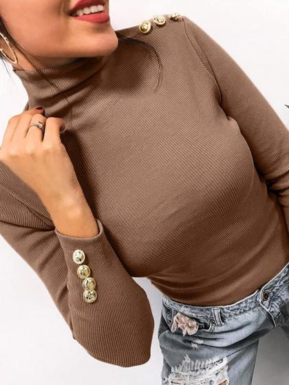 Brown Ribbed High Neck Long Sleeve Women Sweater