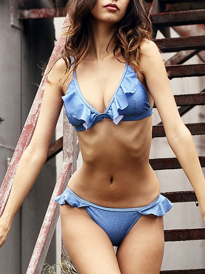 Blue Frill Trim Tie Back Bikini Top And Bottom