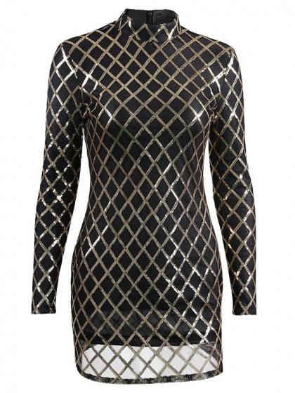 Black High Neck Sequin Detail Long Sleeve Bodycon Mini Dress