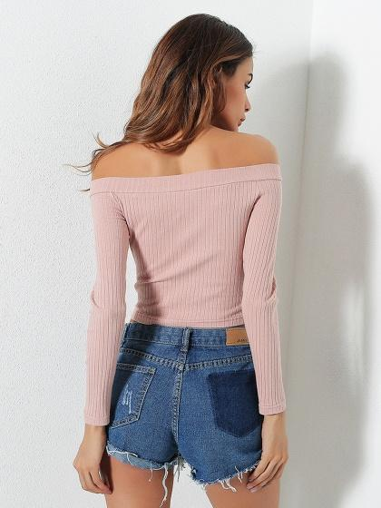 e19c053e0d Pink Off Shoulder Rib Long Sleeve Crop Top – chiclookcloset