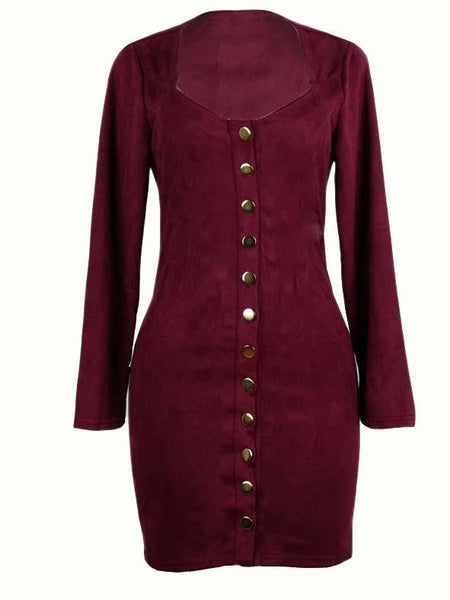 Burgundy Button Front Long Sleeve Dress