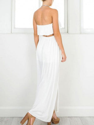 White Ruffle Lace Insert Bandeau Crop Top and Split Maxi Skirt