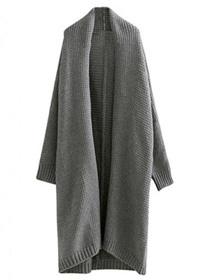Gray Open Front Batwing Sleeve Chunky Longline Cardigan