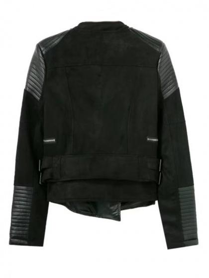 Black Faux Suede Lapel PU Panel Biker Jacket
