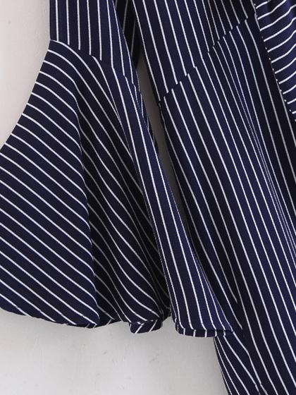 Navy Blue Stripe Tie Front Ruffle Sleeve Asymmetric Hem Dress