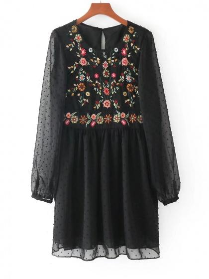 Black Embroidery Floral Sheer Sleeve Babydoll Mini Dress