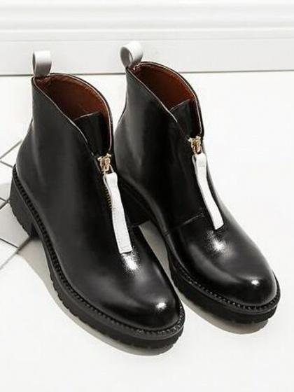 Black Zip Front Leather Look Ankle Boots