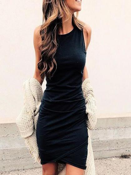 Black Cotton Ruched Detail Sleeveless Chic Women Bodycon Mini Dress