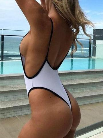 White Open Back Swimsuit
