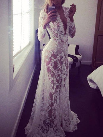 White Plunge Sheer Lace Long Sleeve Maxi Dress