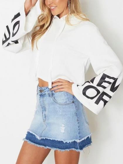 fc91b690b4be1 White Letter Print Long Sleeve Cropped Hoodie – chiclookcloset