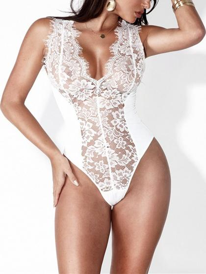 White Halter Strap V Neck Plunge Sheer Lace Bodysuit