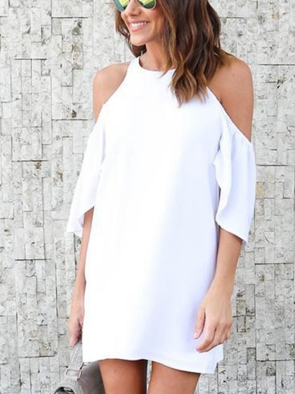 White Cold Shoulder Mini Dress