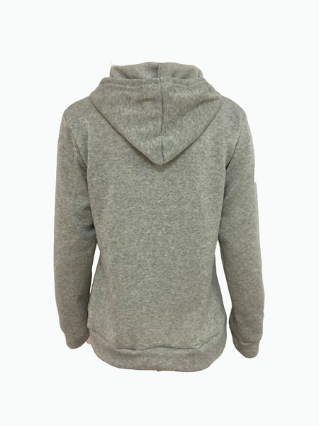 Gray Embroidery Rose Pocket Front Hoodie
