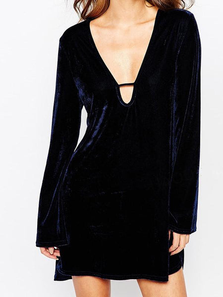 Navy Blue Velvet Plunge Long Sleeve Hi-Lo Dress