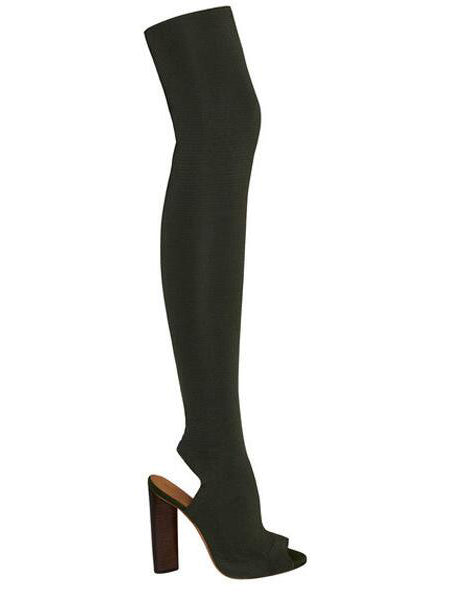 Dark Green Peep Toe Stretch Heeled Over The Knee Boots