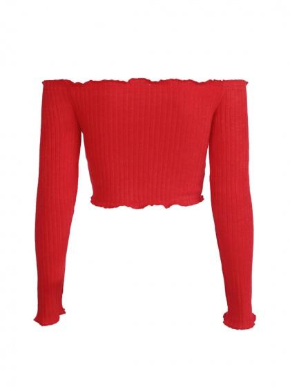 Red Off Shoulder Frill Trim Long Sleeve Ribbed Crop Top