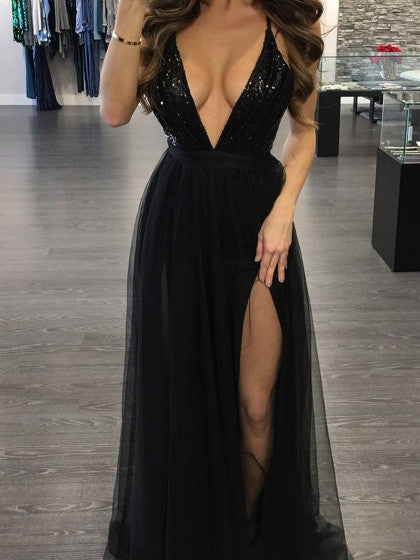 Black Plunge Sequin Bodice Cross Back Split Maxi Dress