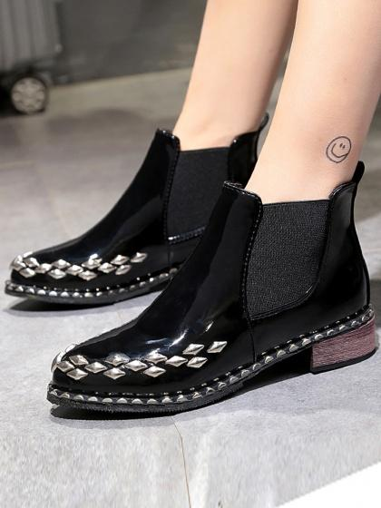 Black Patent Leather Look Studs Ankle Boots