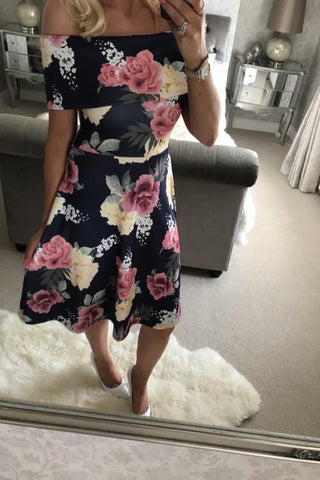 Black Folded Off Shoulder Floral Print Midi Dress