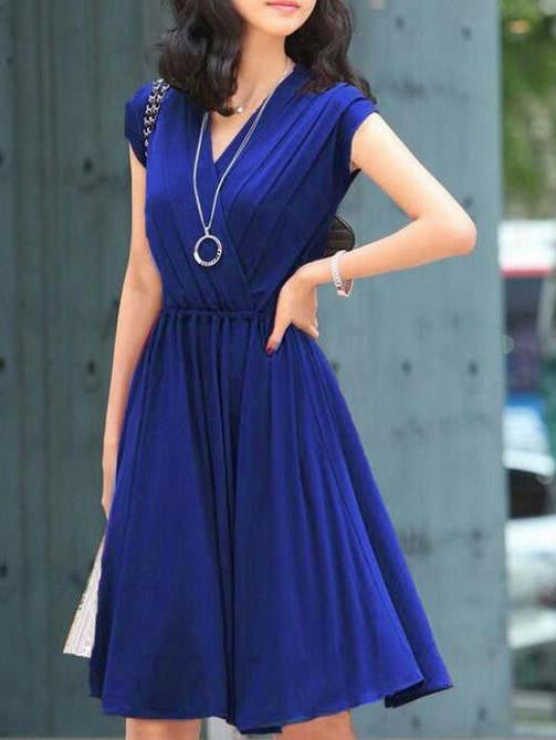 Royal Blue V Neck Wrap Pleated Skater Dress