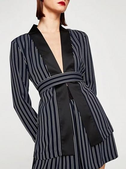 Black Stripe Belt Waist Long Sleeve Kimono Coat