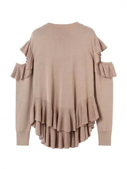 Khaki Cold Shoulder Ruffle Trim Long Sleeve Knit Sweater