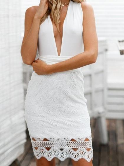 White Plunge Lace Panel Cross Strap Back Women Mini Dress