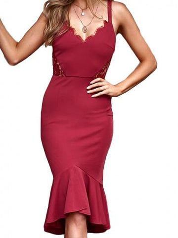 Red V-neck Lace Panel Ruffle Hem Women Cami Midi Dress