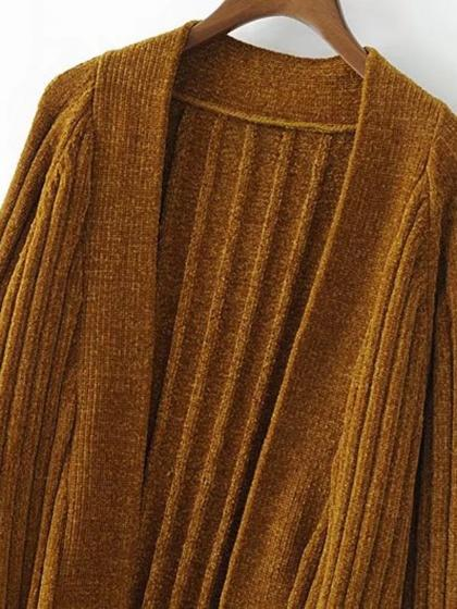 Brown Pocket Open Front Chunky Cardigan