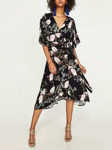 Polychrome V-neck Crane Print Tie Waist Midi Dress