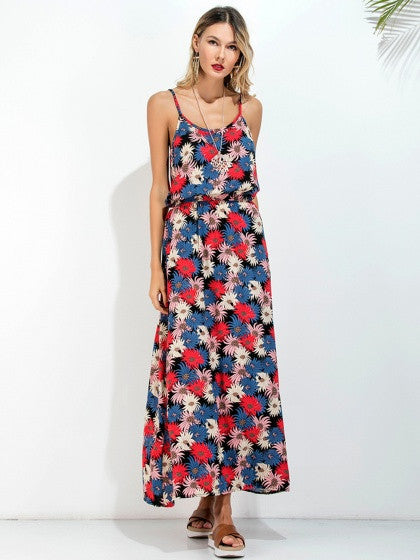 Multicolor Floral Printed Spaghetti Strap Elastic Waist Cut Out Back Cami Maxi Beach Dress