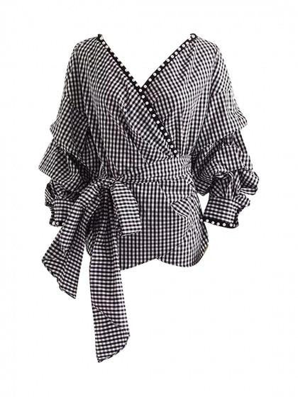 Monochrome Gingham V Neck Wrap Faux Pearl Trim Tie Waist Top