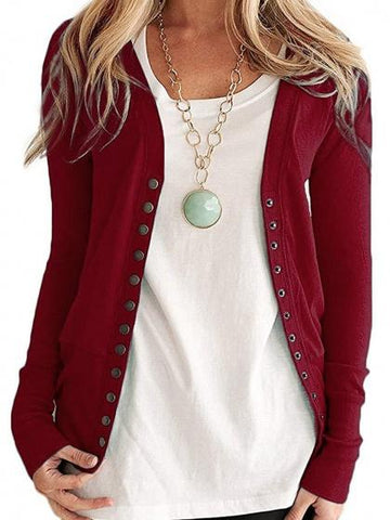 Burgundy Cotton Button Placket Front Long Sleeve Cardigan