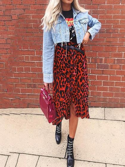 Red High Waist Leopard Print Ruffle Trim Women Midi Skirt
