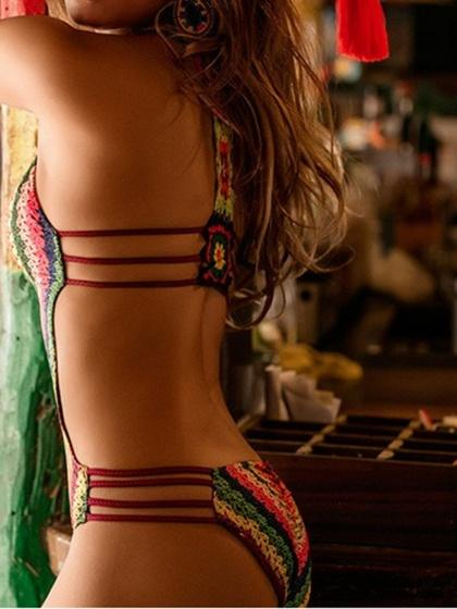Polychrome Plunge Rainbow Print Open Back Swimsuit