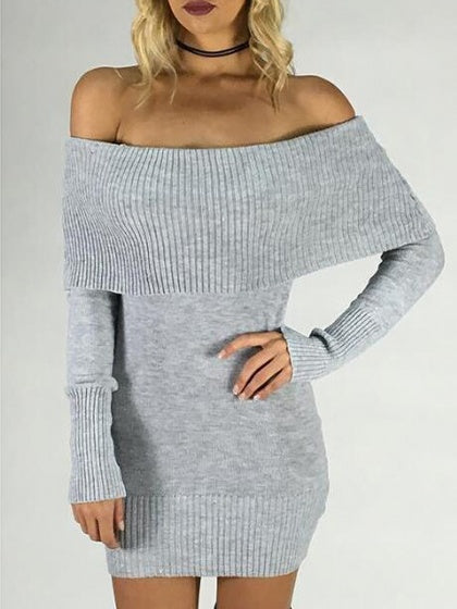 Gray Off Shoulder Long Sleeve Sweater Bodycon Mini Dress