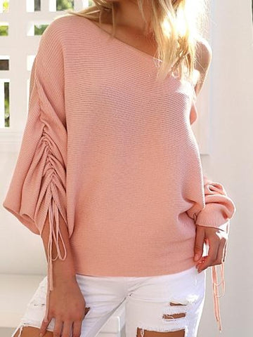 Pink Cold Shoulder Long Sleeve Chic Women Knit Sweater