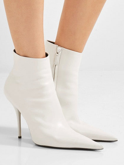 White Leather Heeled Zip Ankle Boots