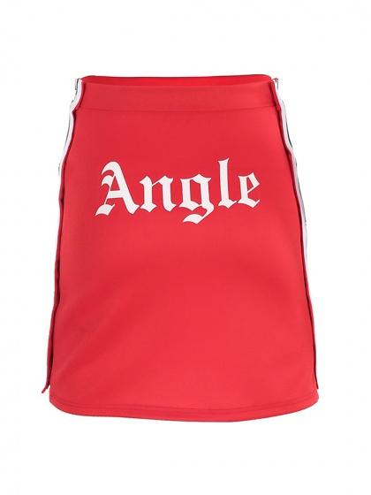 Red Angle Print Stripe Buttoned Side Mini Skirt