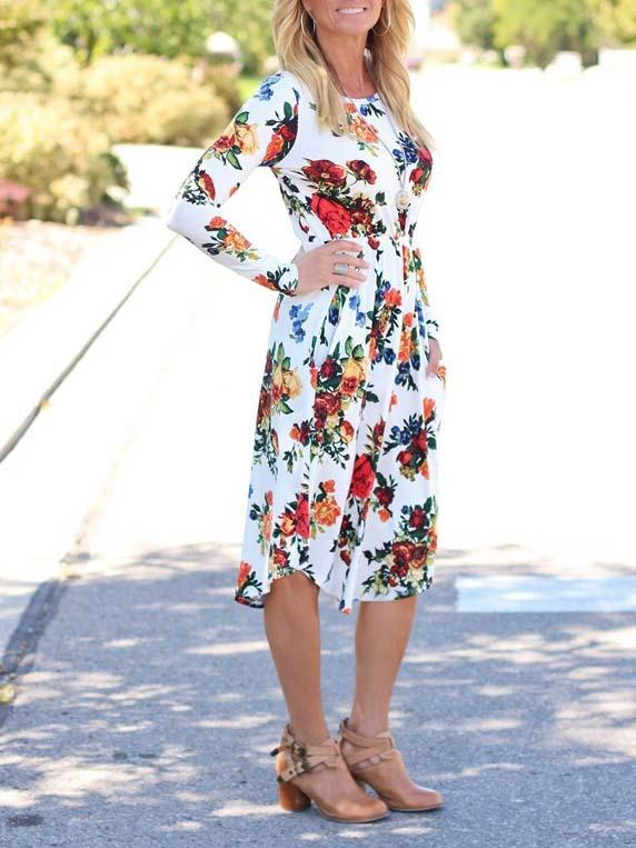 White Floral Long Sleeve Midi Dress