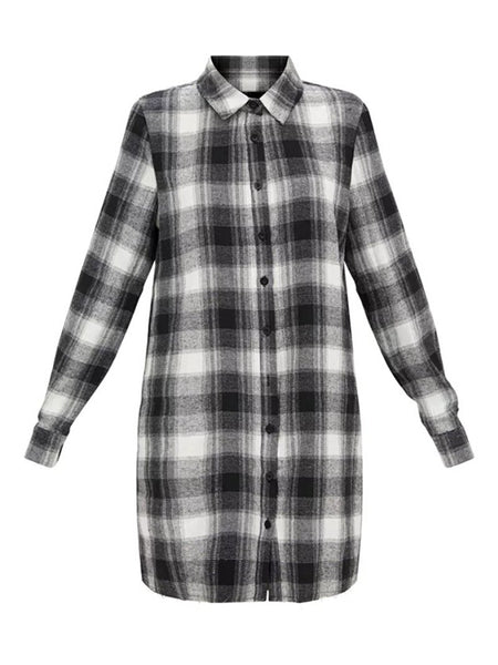 Monochrome Plaid Long Sleeve Shirt Dress