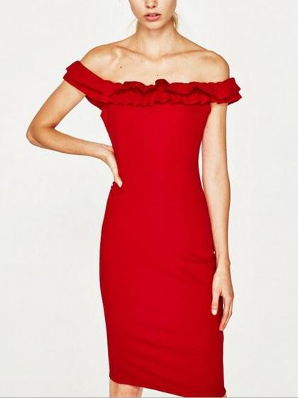 Red Off Shoulder Ruffle Trim Bodycon Dress