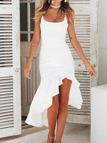 White Ruffle Trim Split Front Women Cami Maxi Dress