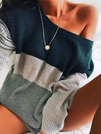 Color Block Stripe One Shoulder Mohair Sweater